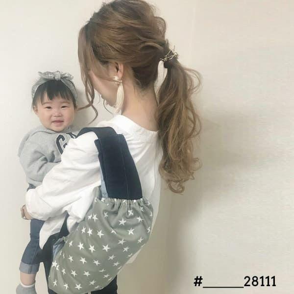 【M】星柄カーキグレー/抱っこひも収納カバー「ルカコ」0659-11