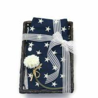 【出産祝・贈答用】おもてなし(お花とかご付き送料込)【M】星柄ネイビー「ルカコ」77-0671-11