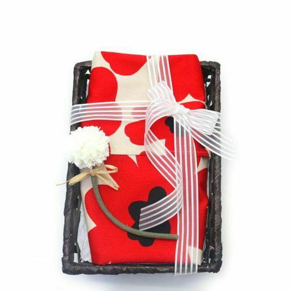 【出産祝・贈答用】おもてなし(お花とかご付き送料込)【L】ポピー柄レッド「ルカコ」78-0673-11