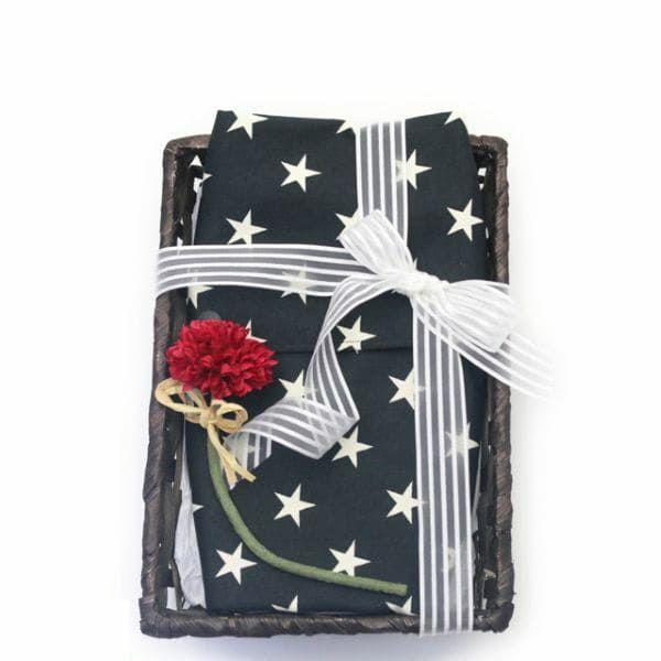 【出産祝・贈答用】おもてなし(お花とかご付き送料込)【L】星柄ブラック「ルカコ」78-0667-11