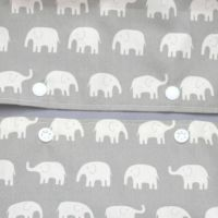 【出産祝・贈答用】おもてなし(お花とかご付き送料込)【M】象さん柄グレー「ルカコ」73-0284-11