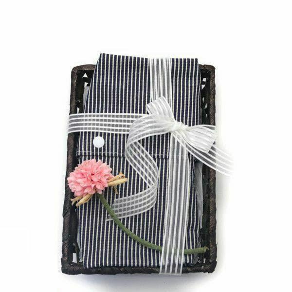 【出産祝・贈答用】おもてなし(お花とかご付き送料込)【L】ヒッコリーブルー「ルカコ」75-0778-11