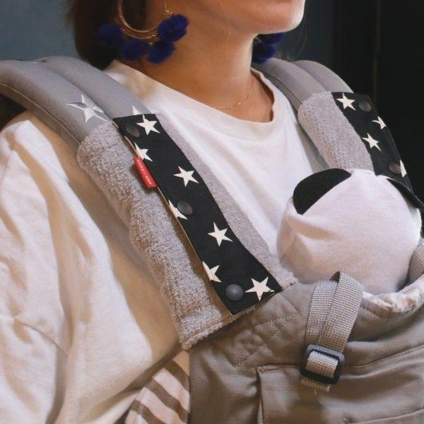 抱っこ紐のよだれカバーFUWA グレー×星柄ブラック 51-0667-11