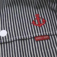 【L】【刺繍】イカリ レッド×ヒッコリーブルー/抱っこひも収納カバー「ルカコ」88-0926-11