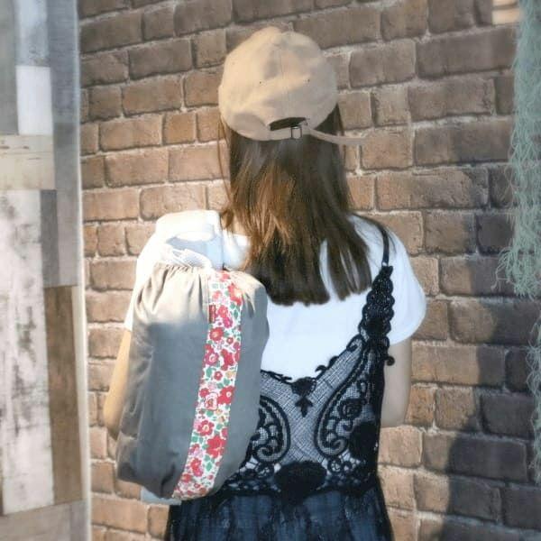【L】【セット】【レイヤー】グレー×【リバティ】ベッツィアンレッド/抱っこひも収納カバー「ルカコ」89-0953-11