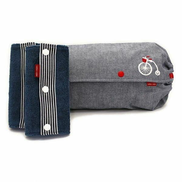 【L】【セット】【刺繍】自転車ホワイト×レッド×ダンガリーブルー×/抱っこひも収納カバー「ルカコ」89-0931-11