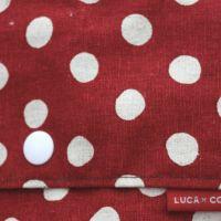 【L】麻混ヴィンテージの風合いレッド×ホワイト ドット/抱っこひも収納カバー「ルカコ」 88-0463-11