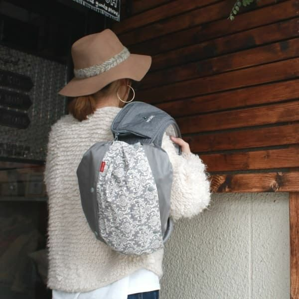 【プラス】ロココ調グレー/抱っこひも収納カバー「ルカコ」 60-0709-11
