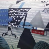 【L】【防水生地】ナイロンオックス北欧の森の動物達 ブルー/抱っこひも収納カバー「ルカコ」 88-0983-11