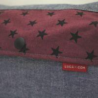 【L】【レイヤー】ダンガリーブルー×星柄ワインレッド/抱っこひも収納カバー「ルカコ」 88-1000-11
