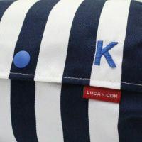 【L】【刺繍イニシャル】英1文字ブルー×マリンストライプ/抱っこひも収納カバー「ルカコ」 88-1016-11