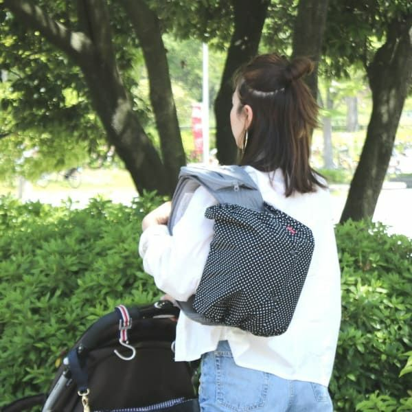 【ヒップシート対応】ドット柄ブラック×ホワイト/抱っこひも収納カバー「ルカコ」80-0380-11