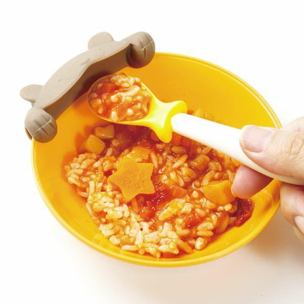 【マーナ(MARNA)】上手にすくえる ぱくぱくスプーン&キャッチャー【クマ】食器洗い乾燥機・電子レンジOK mb K715 1000-09-05