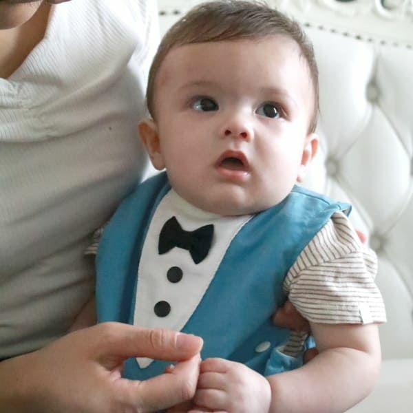 【離乳食エプロン・長袖ロング丈】離乳食初期の赤ちゃんから3歳まで使える洗える!おしゃれな男の子・女の子用の手作りセミオーダー食事用スタイ1000-16-02