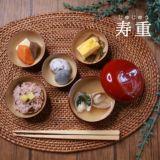【寿重 あか】お食い初め食器オーダーメイド名入れ日本製 100日祝の漆器 贈り物や出産祝に。ロゼッタロゼッテ1000-24-01