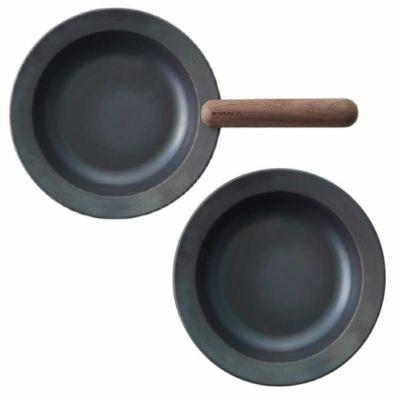 【フライパンジュウ】鉄フライパンセット 取っ手が取れる、収納できる、IH対応オーブン可の藤田金属(八尾)日本製!おしゃれなフライパン【Mペア④セット直径20cm】ウォルナット・ブラウンFRYING PAN JIU1000-32-44